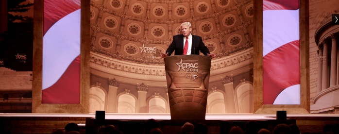 Donald Trump railing against the Obama administration at CPAC, 2014.