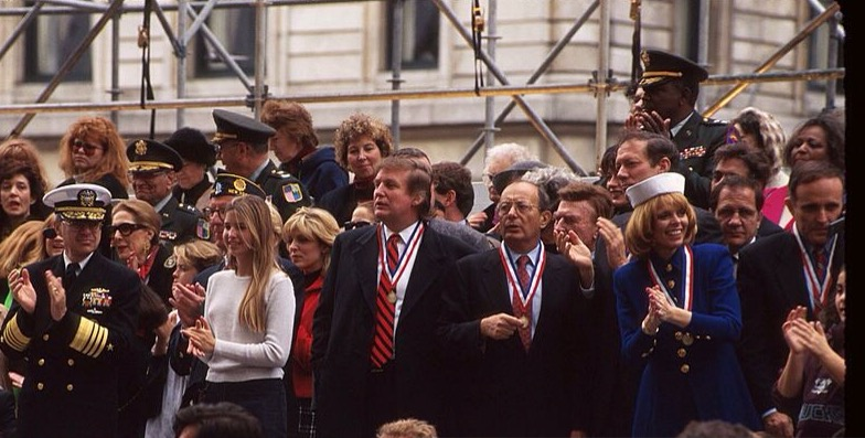 Donald Trump was the Grand Marshall and largest private donor to the New York Nation's Day parade. Seen here with active duty military personnel and veterans as well as Republicans Mayor Rudy Giuliani, Governor George Pataki, and Senator Al D'Amato.