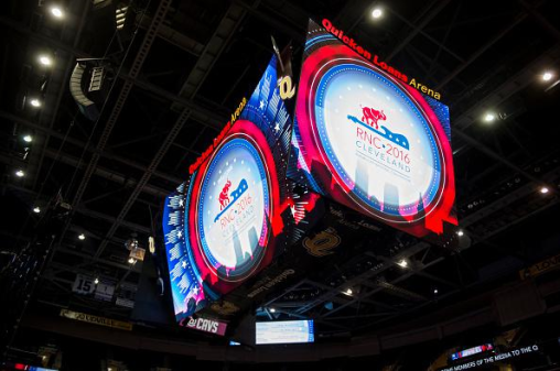 The overhead screens at the Quicken Loans Arena.